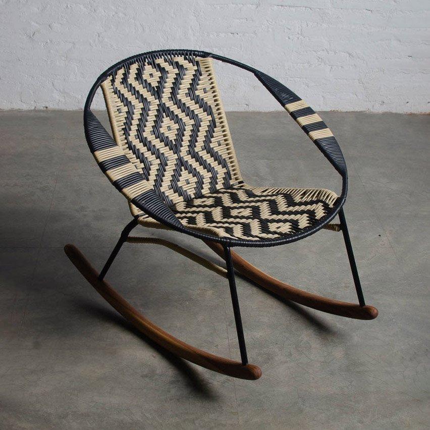Tucurinca Black and Beige Rocking Chair